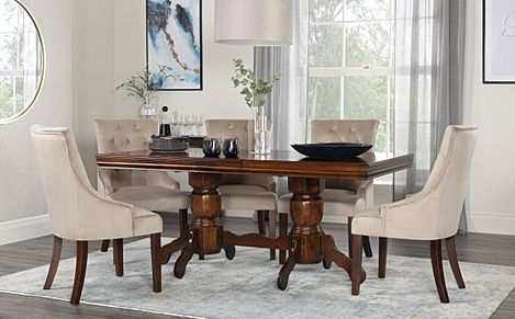 Chatsworth Walnut Extending Dining Table with 6 Duke Mink Velvet Chairs