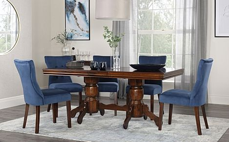 Chatsworth Walnut Extending Dining Table with 4 Bewley Blue Velvet Chairs