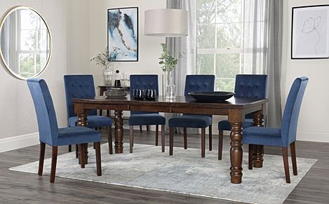 Hampshire Walnut Extending Dining Table with 4 Regent Blue Velvet Chairs
