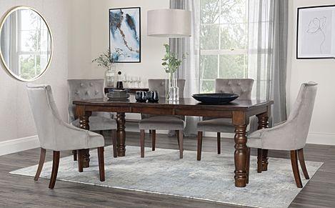 Hampshire Dark Wood Extending Dining Table with 8 Duke Grey Velvet Chairs