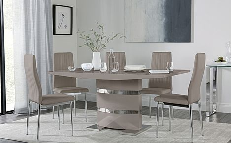 Komoro Taupe High Gloss Dining Table with 6 Leon Taupe Leather Chairs