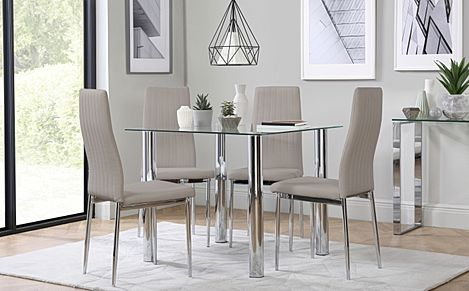 Nova Square Glass and Chrome Dining Table with 4 Leon Stone Grey Leather Chairs