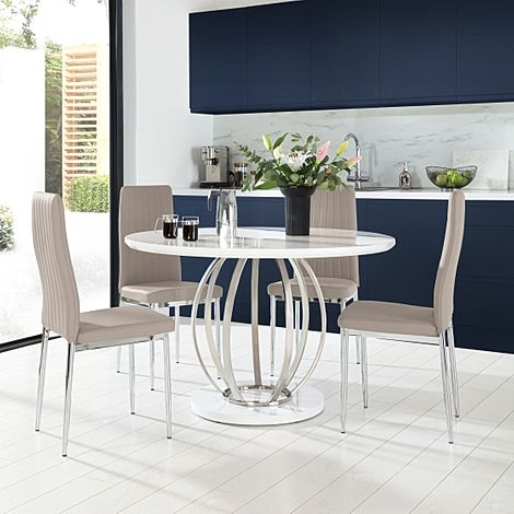 Savoy Round White High Gloss and Chrome Dining Table with 4 Leon Taupe Leather Chairs