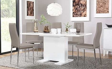 Osaka White High Gloss Extending Dining Table with 6 Leon Taupe Chairs