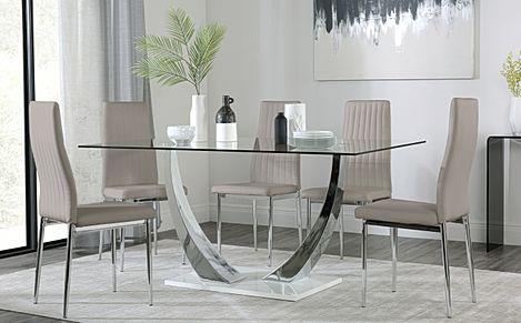 Peake Glass and Chrome Dining Table (White Gloss Base) with 4 Leon Taupe Leather Chairs