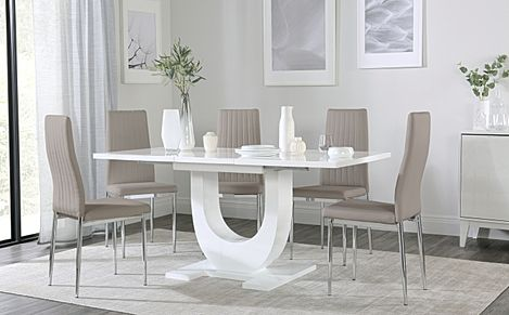Oslo White High Gloss Extending Dining Table with 4 Leon Taupe Leather Chairs