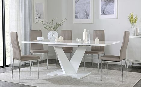 Turin White High Gloss Extending Dining Table with 6 Leon Taupe Leather Chairs