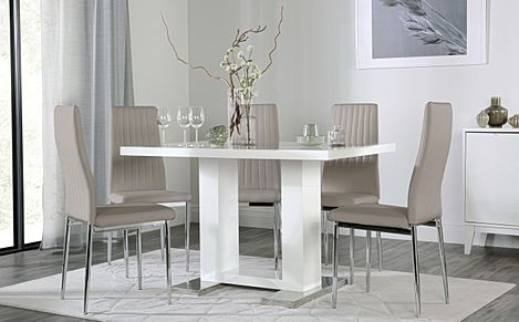 Joule White High Gloss Dining Table with 6 Leon Taupe Leather Chairs