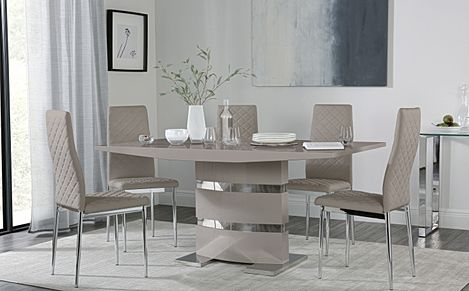 Komoro Taupe High Gloss Dining Table with 6 Renzo Taupe Leather Chairs