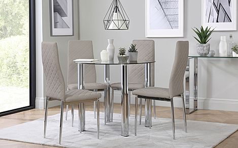 Solar Round Chrome and Glass Dining Table with 4 Renzo Taupe Chairs