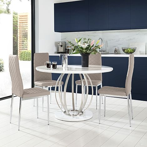 Savoy Round White High Gloss and Chrome Dining Table with 4 Renzo Taupe Leather Chairs