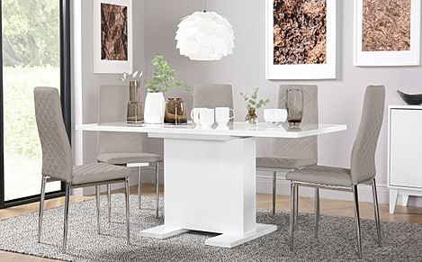 Osaka White High Gloss Extending Dining Table with 4 Renzo Taupe Leather Chairs