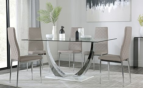 Peake Glass and Chrome Dining Table (White Gloss Base) with 4 Renzo Taupe Leather Chairs