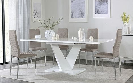 Turin White High Gloss Extending Dining Table with 6 Renzo Taupe Leather Chairs