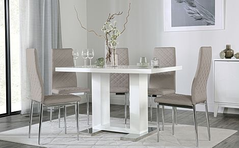 Joule White High Gloss Dining Table with 4 Renzo Taupe Leather Chairs