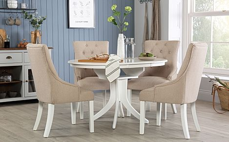 Hudson Round White Extending Dining Table with 4 Duke Oatmeal Fabric Chairs
