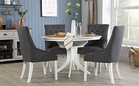 Hudson Round White Extending Dining Table with 4 Duke Slate Fabric Chairs