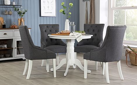 Kingston Round White Dining Table with 4 Duke Slate Fabric Chairs