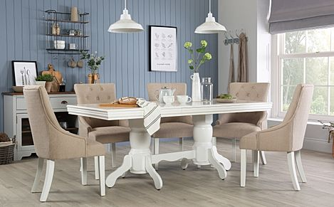 Chatsworth White Extending Dining Table with 6 Duke Oatmeal Fabric Chairs