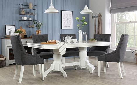 Chatsworth White Extending Dining Table with 6 Duke Slate Fabric Chairs