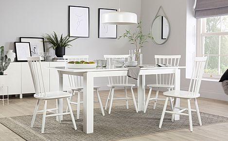 Aspen White Extending Dining Table with 4 Pendle Chairs