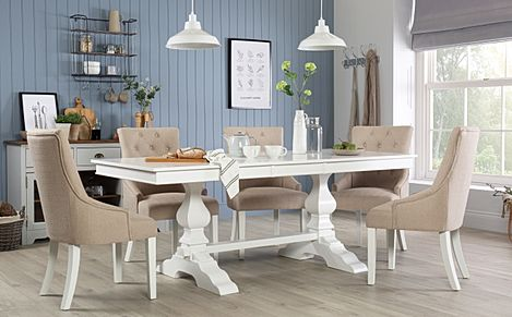 Cavendish White Extending Dining Table with 6 Duke Oatmeal Fabric Chairs