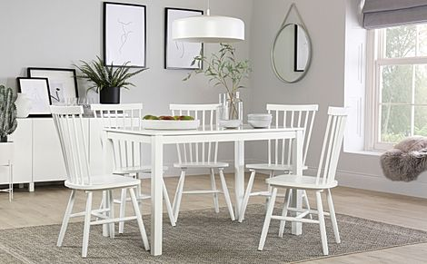 Milton White Dining Table with 6 Pendle Chairs