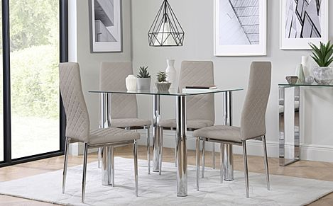 Nova Square Glass and Chrome Dining Table with 4 Renzo Taupe Leather Chairs