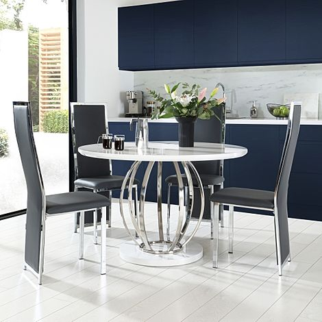 Savoy Round White High Gloss and Chrome Dining Table with 4 Celeste Grey Leather Chairs