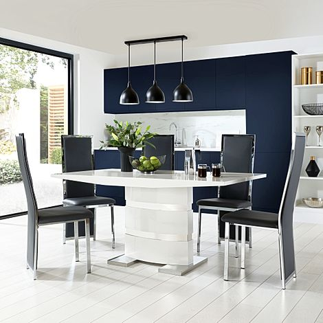 Komoro White High Gloss Dining Table with 6 Celeste Grey Leather Chairs