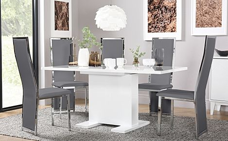 Osaka White High Gloss Extending Dining Table with 4 Celeste Grey Chairs