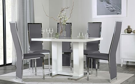 Joule White High Gloss Dining Table with 4 Celeste Grey Leather Chairs