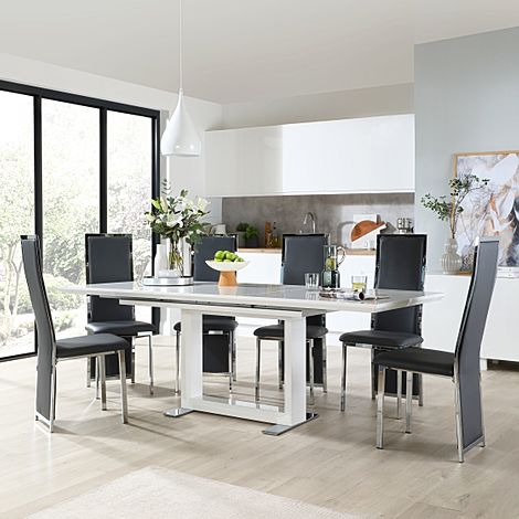 Tokyo White High Gloss Extending Dining Table with 4 Celeste Grey Leather Chairs