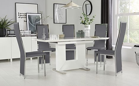 Florence White High Gloss Extending Dining Table with 4 Celeste Grey Leather Chairs