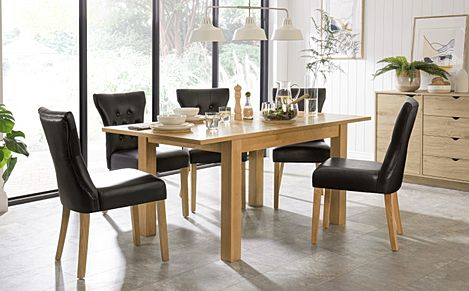 Hamilton 120-170cm Oak Extending Dining Table with 6 Bewley Black Leather Chairs