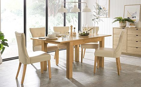Hamilton Oak 120-170cm Extending Dining Table with 4 Bewley Ivory Leather Chairs