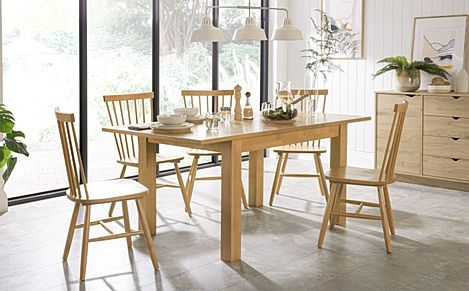Hamilton Oak 120-170cm Extending Dining Table with 4 Pendle Chairs