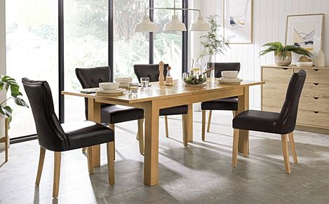 Hamilton Oak 150-200cm Extending Dining Table with 6 Bewley Black Leather Chairs