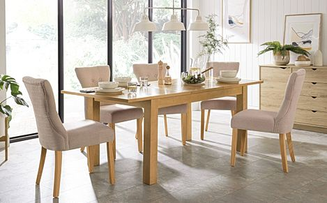 Hamilton 150-200cm Oak Extending Dining Table with 6 Bewley Oatmeal Fabric Chairs