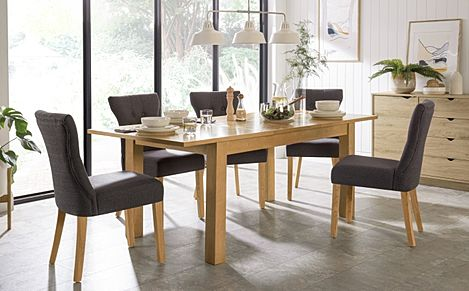 Hamilton 150-200cm Oak Extending Dining Table with 4 Bewley Slate Fabric Chairs