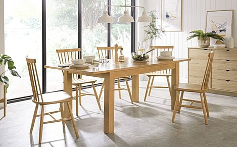 Hamilton 150-200cm Oak Extending Dining Table with 4 Pendle Chairs