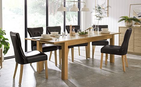 Hamilton 180-230cm Oak Extending Dining Table with 6 Bewley Black Leather Chairs