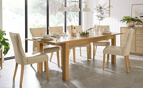 Hamilton 180-230cm Oak Extending Dining Table with 6 Bewley Ivory Leather Chairs