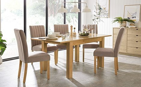 Hamilton 120-170cm Oak Extending Dining Table with 4 Salisbury Mink Velvet Chairs