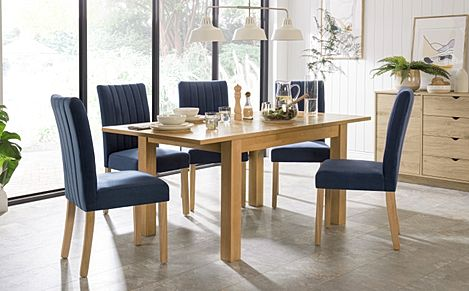 Hamilton 120-170cm Oak Extending Dining Table with 4 Salisbury Blue Velvet Chairs