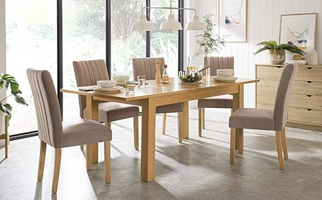 Hamilton 150-200cm Oak Extending Dining Table with 4 Salisbury Mink Velvet Chairs