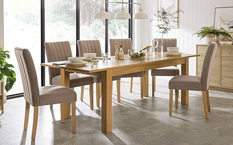 Hamilton 180-230cm Oak Extending Dining Table with 6 Salisbury Mink Velvet Chairs