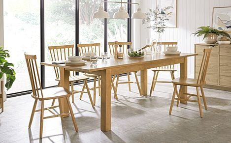 Hamilton Oak 180-230cm Extending Dining Table with 4 Pendle Chairs