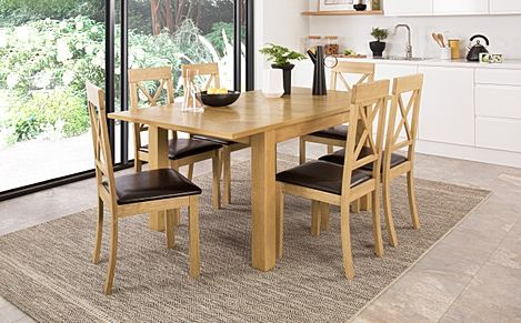 Madison 120-170cm Oak Extending Dining Table with 4 Kendal Chairs (Brown Leather Seat Pad)