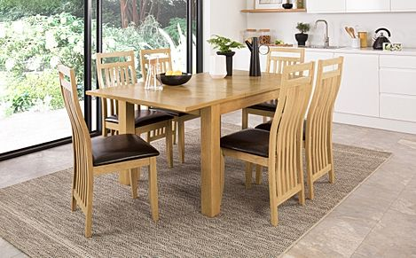 Madison Oak 120-170cm Extending Dining Table with 4 Bali Chairs (Brown Leather Seat Pad)